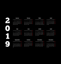 2019 year simple white calendar on french language vector image vector image