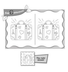 game black find 9 differences suitcase vector image vector image