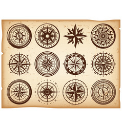 vintage nautical compasses icons set vector image