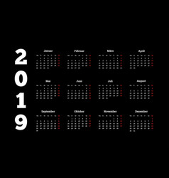 2019 year simple white calendar on german language vector image vector image
