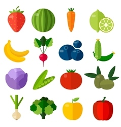 Fresh fruits and vegetables flat icons set vector image
