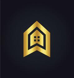 house icon building gold logo vector image