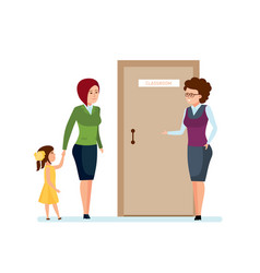mom daughter go for first time to school teacher vector image