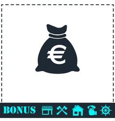 Money bag icon flat vector image vector image