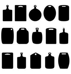 set of silhouettes of cutting boards vector image vector image