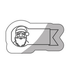 sticker silhouette ribbon with face cartoon santa vector image