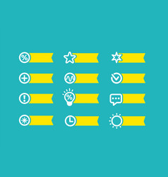 with yellow flag set of icons on a blue background vector image