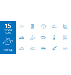 15 vehicle icons vector image
