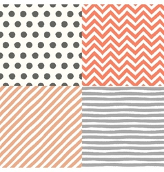 4 hand drawn painted seamless geometric patterns vector image vector image