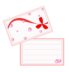 A White Valentine Card with Red Ribbon vector image