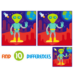 alien on mars find 10 differences vector image
