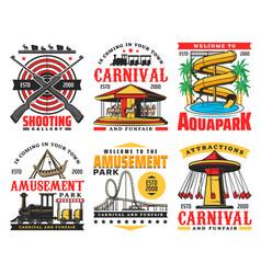 aquapark funfair carnival and entertainment park vector image