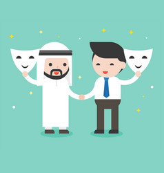 Arab businessman and businessman shake hand vector