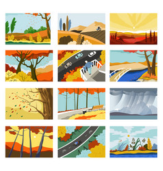 Autumn landscapes cities and parks with trees vector