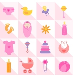 Background with baby girl elements vector