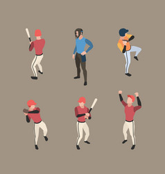 baseball players sport people running bases vector image