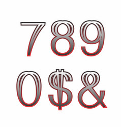 Bi-thin two-tone numbers 2 vector