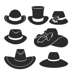 black hats icons set vector image