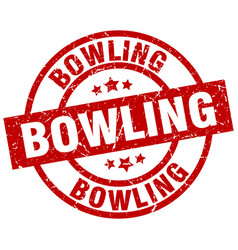 Bowling round red grunge stamp vector