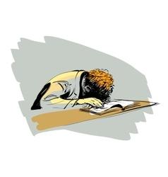 Boy asleep on a textbook education school vector