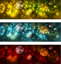Bright glowing bokeh banners design vector image
