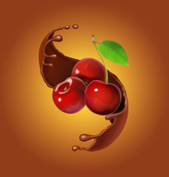 cherries and chocolate realistic vector image vector image