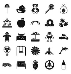 children spontaneity icons set simple style vector image