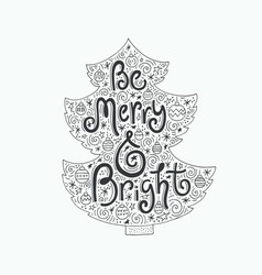 Christmas lettering in the tree vector