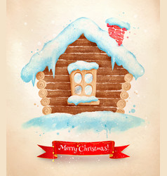 Christmas vintage postcard with house vector