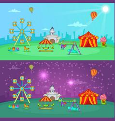Circus banner set horizontal cartoon style vector