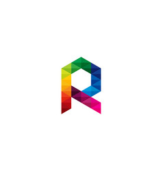 Color letter r logo icon design vector