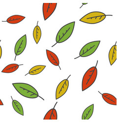 colorful leaves seamless pattern on white vector image