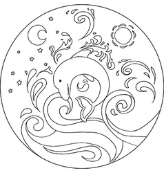 Coloring Dolphin Mandala vector image