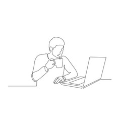 Continuous one line man with a drink in a mug in vector