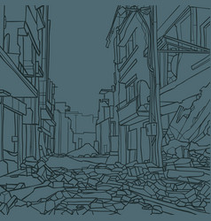 Contour drawing a city street with dilapidated vector