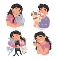 Cute children hold their pets in arms vector