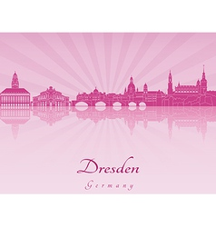 Dresden skyline in purple radiant orchid vector image
