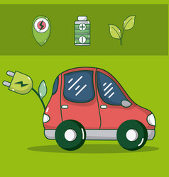 electric ecocar vehicle vector image
