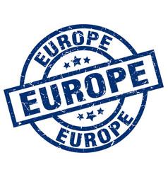 Europe blue round grunge stamp vector