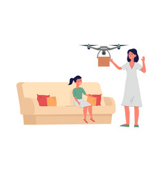 Family getting mailbox with drone delivery flat vector