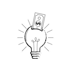Figure bulb idea with bill cash money vector
