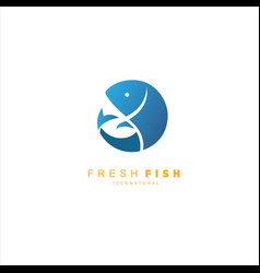 fish logo fresh seafood logo template design vector image