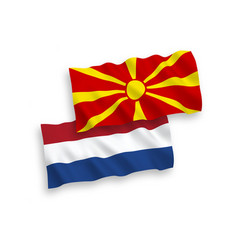 Flags north macedonia and netherlands on a vector