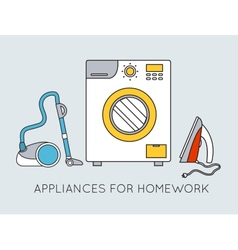 Flat household appliances background concept vector image