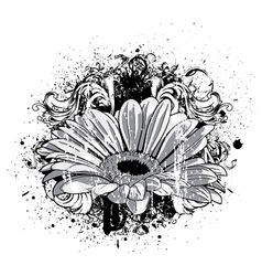 flower with grunge vector image