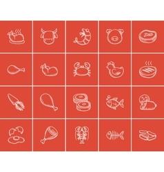 Food and drink sketch icon set vector image