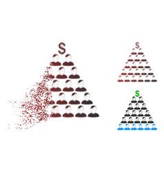 Fragmented pixelated halftone ponzi pyramid scheme vector