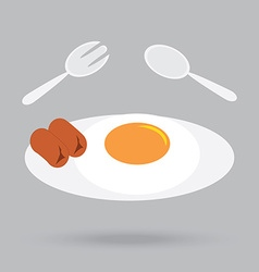 fried egg and sausage breakfast in morning vector image