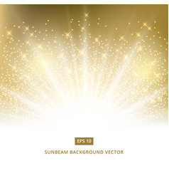 Golden background sunbeam with gold glitter vector