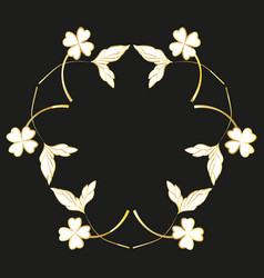 golden painted floral wreaths and laurels vintage vector image